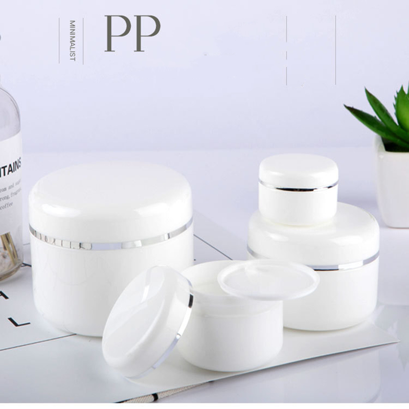 Empty Plastic  Makeup Jar Pot Refillable Sample Bottles Travel Face Cream Lotion Cosmetic Container White20/30/50/100/150ML