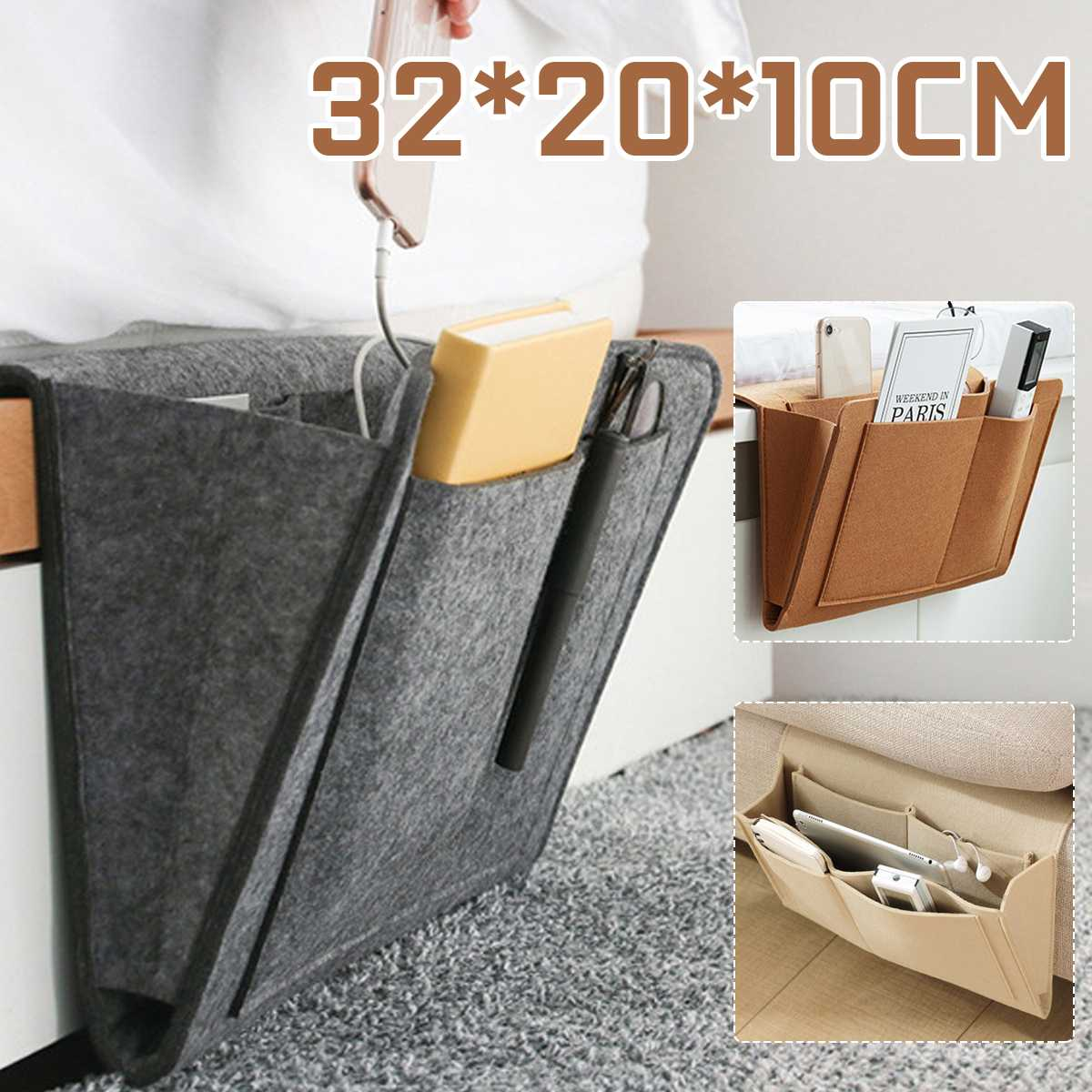 Felt Bedside Storage Organizer Bed Desk Bag <font><b>Sofa</b></font> TV <font><b>Remote</b></font> Control Hanging Books Phones Storage Organizer Bed Holder <font><b>Pockets</b></font> image