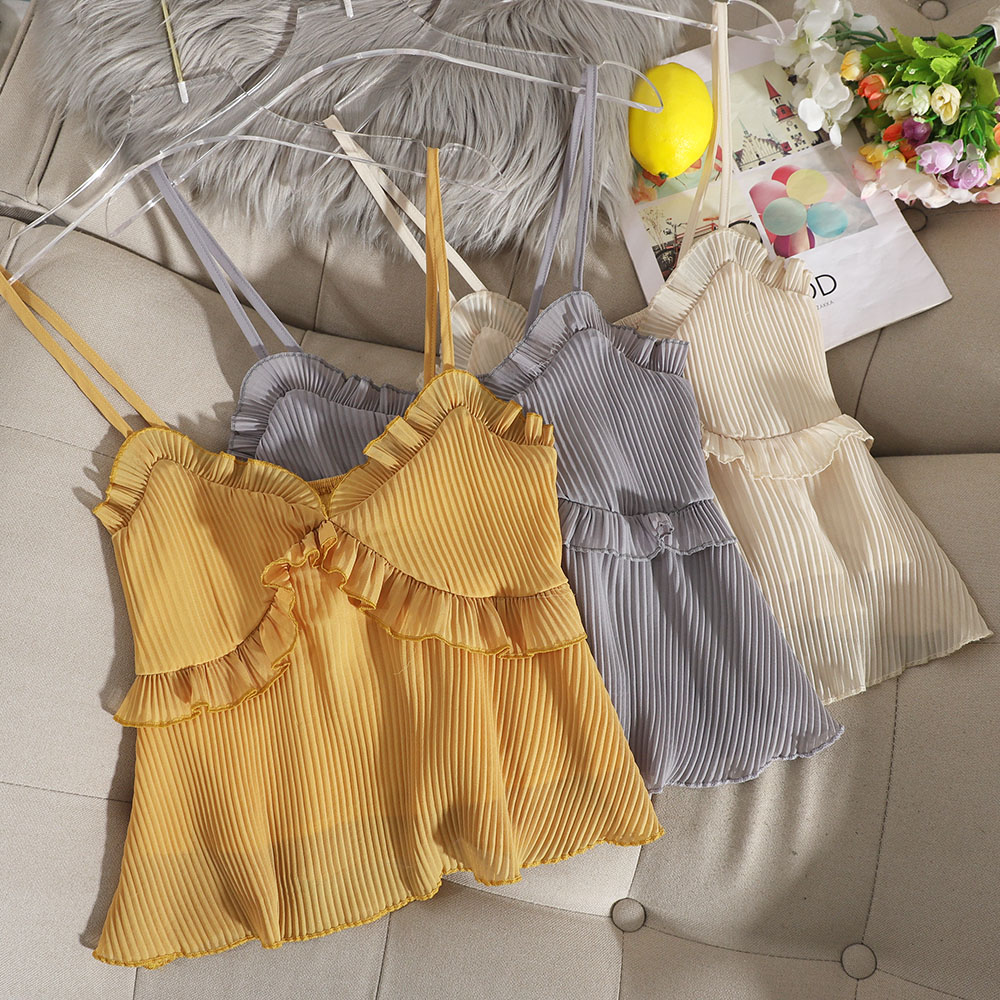 Korean Version Of The Small Fresh V-neckless Backless Sleeveless Suspender Shirt Solid Color Baby Shirt