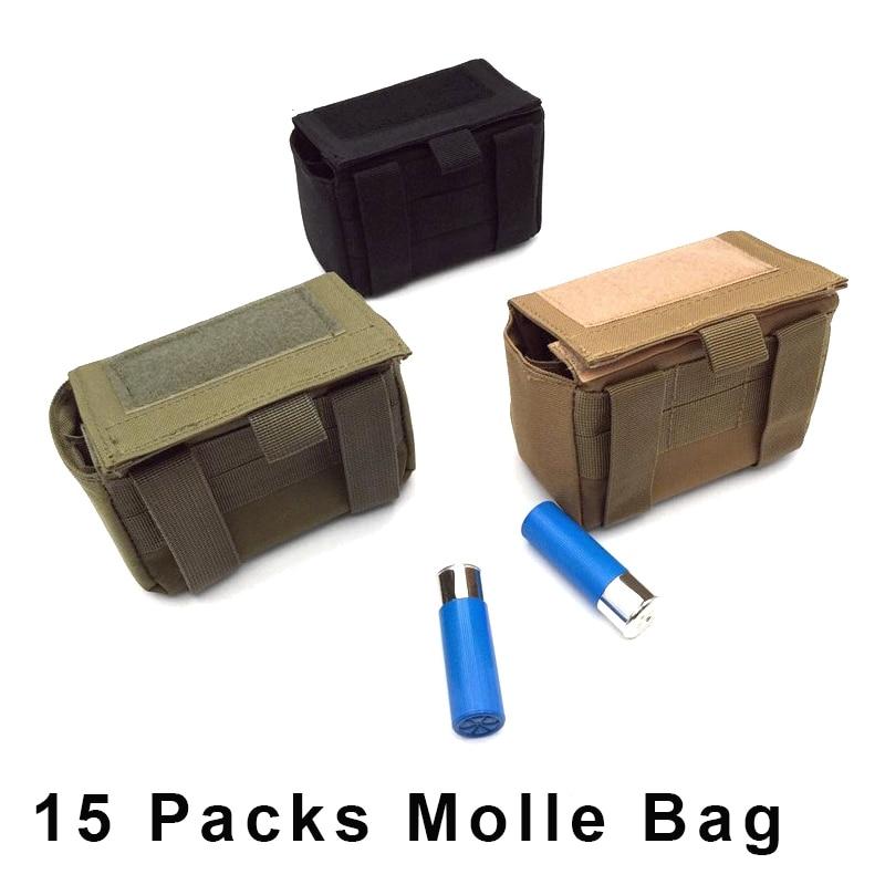 Spor ve Eğlence'ten Torbalar'de 15 paket XT Mini Bullet kılıfı taktik Molle dergisi kılıfı avcılık ordu av tüfeği tüfek mühimmat paket tabancası kartuş çantası title=