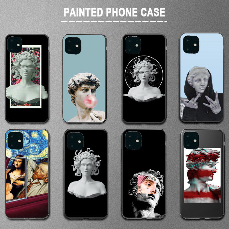 Ottwn For iPhone 11 Case Silicone Art Abstract For iPhone 7 8 6 6s Plus 11 Pro X XR XS Max 5s SE Phone Cases Soft TPU Back Cover
