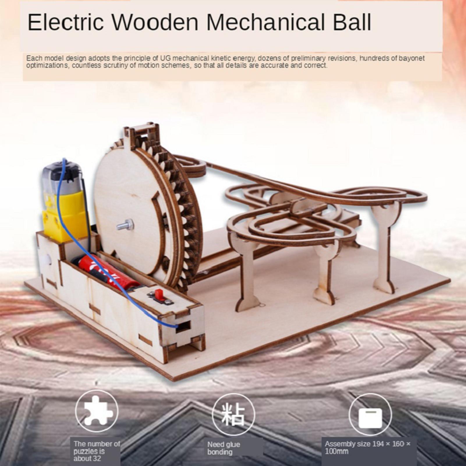 DIY 3D Puzzle Kids Wooden Mechanical Transmission Model Adult Assembled Toy Marble Slide Track Birthday Male Toys For Children