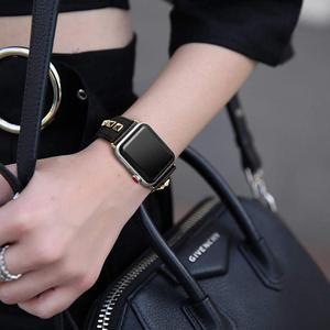 Image 5 - פאנק עור רצועת עבור אפל שעון להקת 44mm 40mm חגורת correas אמיתי עור צמיד iWatch 38mm 42mm סדרת 3 4 5 se 6 להקה