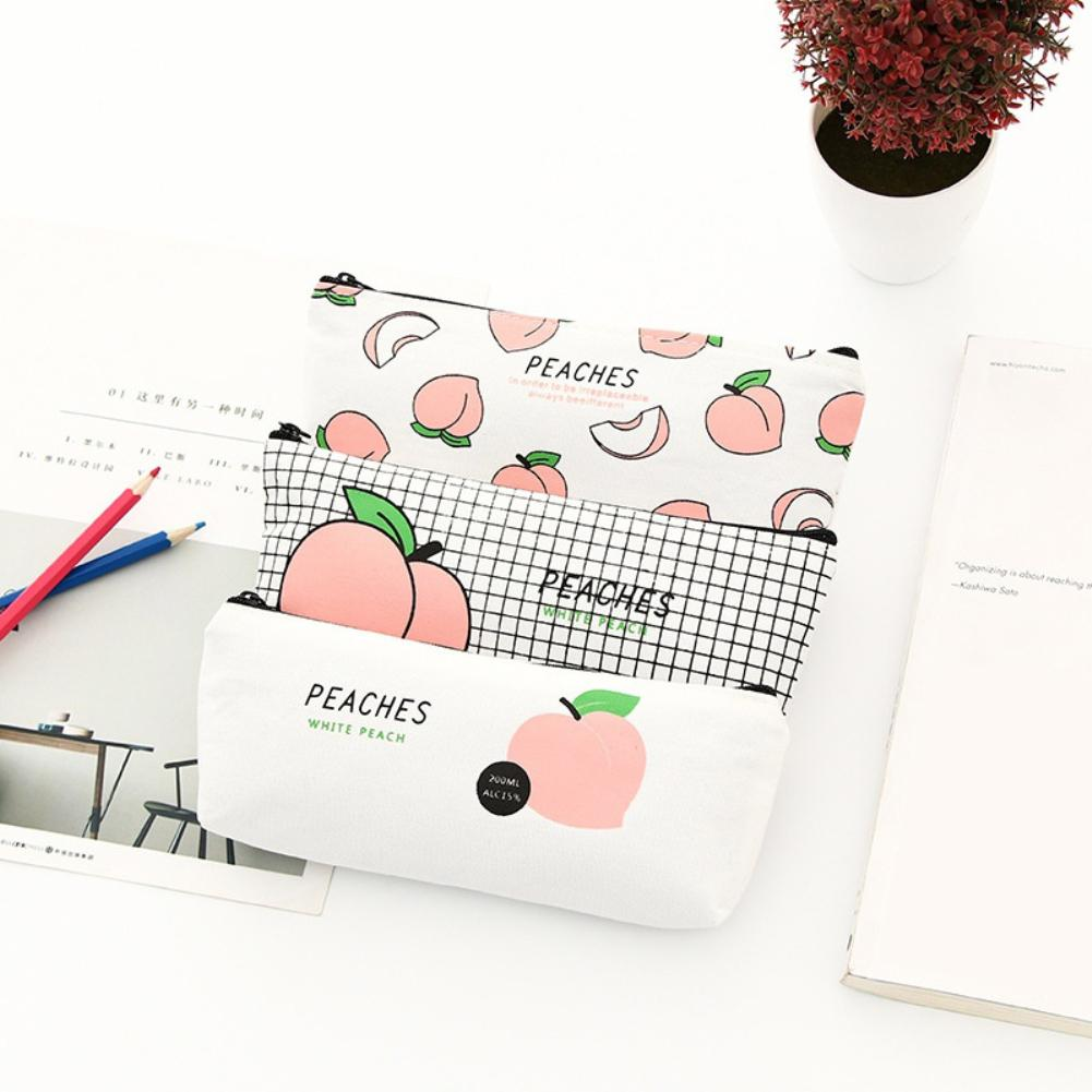 Lovely Peach Pencil Case Canvas Stationery Bag Zipper Pouch School Student Gift School Supplies