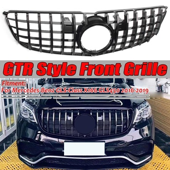 Glossy Black GTR Style Car Front Bumper Grill Grille Cover Trim For Mercedes ForBenz GLS-Class X166 GLS450 2016-2019 GT Grille