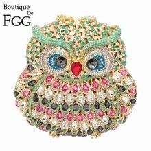 بوتيك دي FGG البومة المرأة الماس مساء حقيبة صغيرة بلورات حفلات براثن الزفاف المحافظ السيدات الجوف خارج حقائب Bolsas