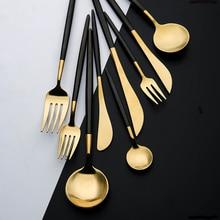 Сталь набор столовых приборов золотые столовые приборы Нержавеющая сталь ложка посуда вилка, ложка, Посуда Кухонная ложка и набор вилок столовые приборы