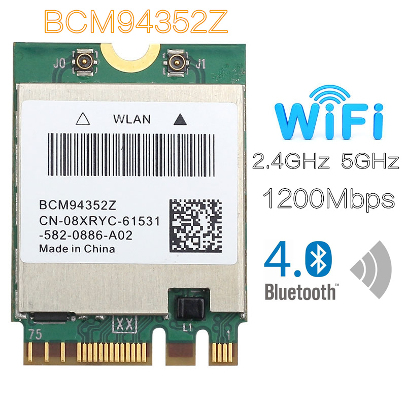 BCM94352z DW1560 867mbps bluetooth 4.0 802.11ac ngff m.2 wifi wlan card for laptop windows mac os(China)