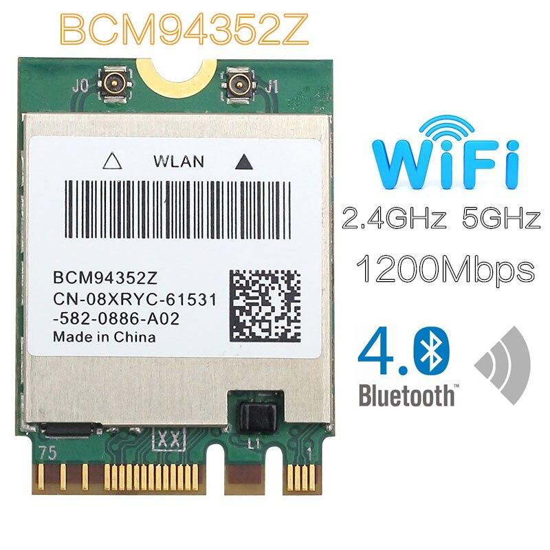 BCM94352z DW1560, 867mbps, bluetooth 4,0, 802.11ac, ngff, tarjeta wifi, wlan para ordenador portátil, windows, mac os Superbat antena Dual 6DBi omnidireccional enchufe de RP-SMA macho (pin hembra) conector para interior Wi-Fi señal de rango inalámbrico