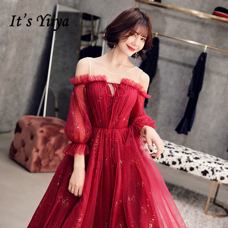 Prom Dress It's Yiiya R216 Burgundy Boat Neck Burgundy Formal Gowns Puff Sleeve Sequined A-Line Short Vestidos De Fiesta