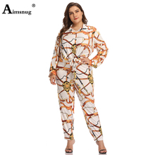цена на Large Size 4XL Long Sleeve Print Belt Gold Chain Single Breasted Lace-up New Casual Sets Blouse And Trousers Women's Two-piece