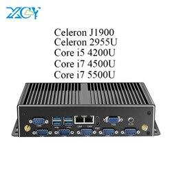XCY безвентиляторный мини ПК Двойной гигабитный Ethernet Lan 6 * Com порты Мини компьютер Intel Core i5 4200u i7 промышленный Linux Micro Minipc коробка
