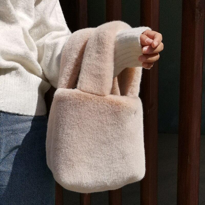 Женские сумки через плечо из искусственного меха 2019, зимняя теплая сумка через плечо, женские сумки для путешествий, одноцветные сумки|Сумки с ручками|   | АлиЭкспресс