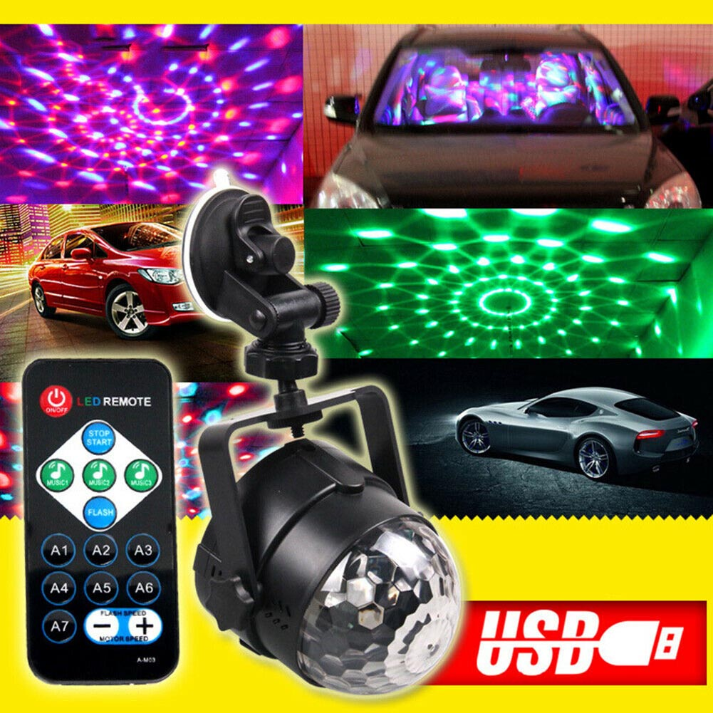 LED RGB Light Ball Lamp USB Charging Remote Control For Car Disco Stage Wedding Party ALI88