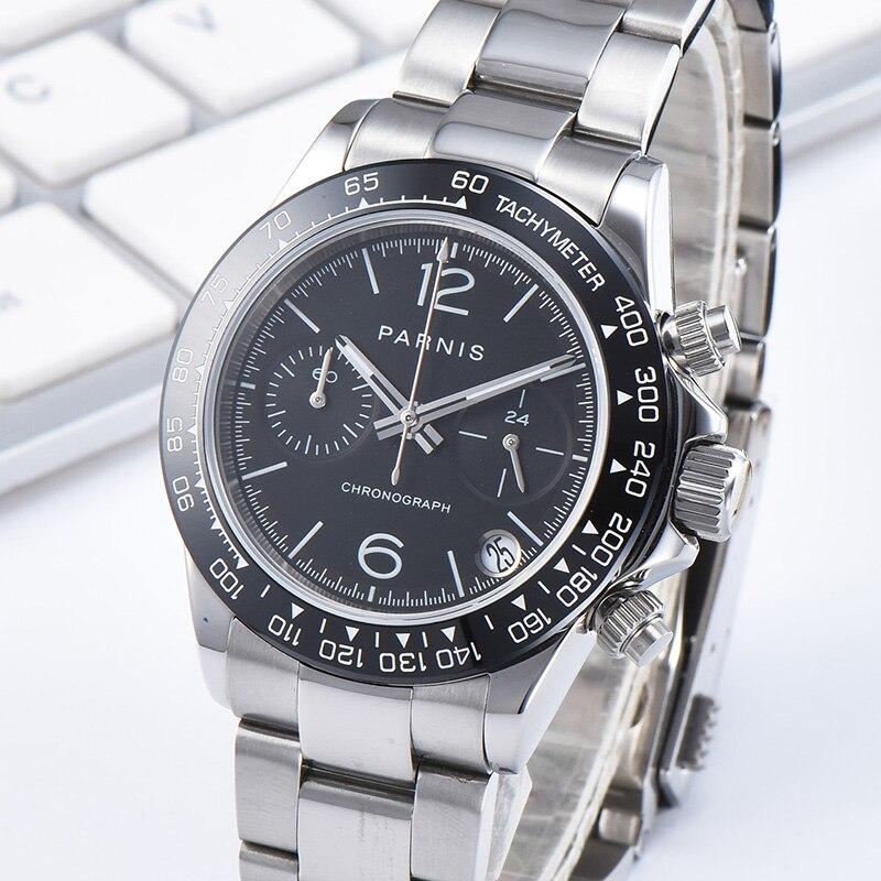 Новинка Parnis 39 мм Мужские кварцевые часы Стальной браслет хронограф мужские часы VK64 Move для мужчин t подарок с коробкой мужские часы 2019