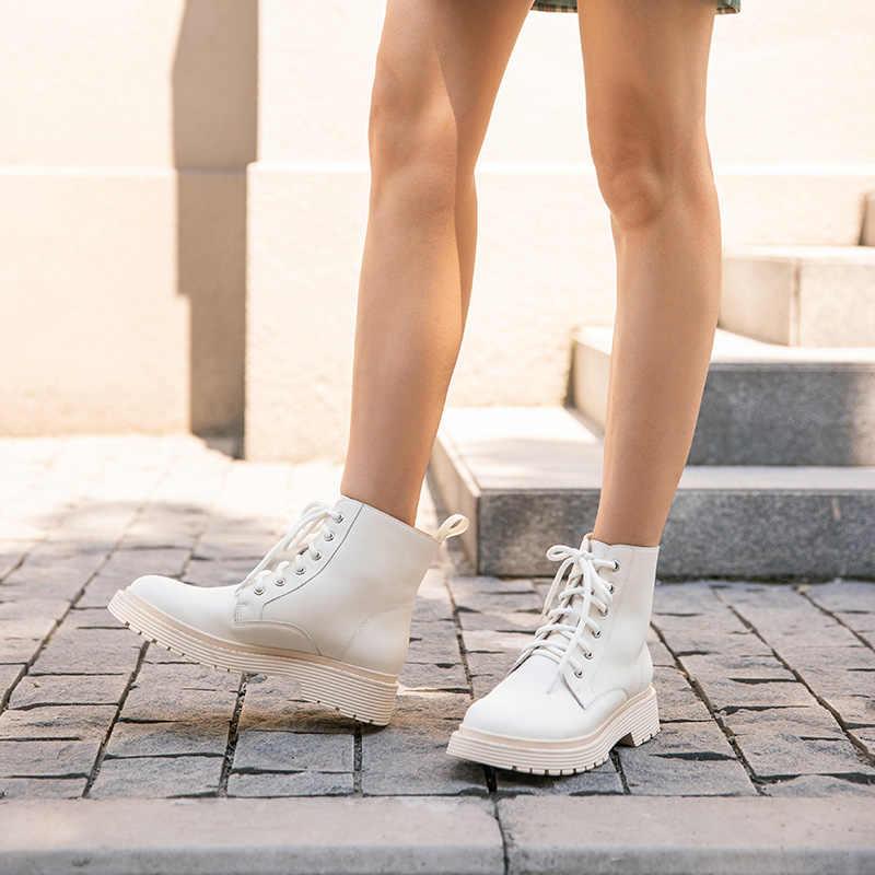 BeauToday yarım çizmeler Kadın Hakiki Inek Deri Çapraz Bağlı Yuvarlak Ayak Bayan Moda Botları Kışlık platform ayakkabılar El Yapımı 03429