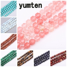 Yumten Round-brilliant-shape Cherry Quartz Bead 8mm*8mm Beads Wholesale Natural Ruby Necklace Black Obsidian Jewelry Accessories