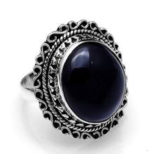 Genuine Black Onyx Ring 925 Sterling Silver, USA Size : 6.25, AR4132(China)