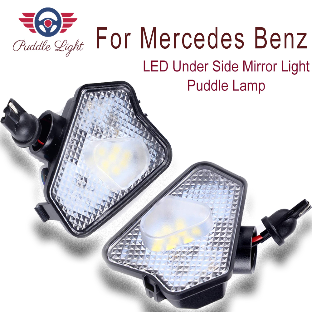 2x High Power Xenon White LED Under Side Mirror Puddle Light Lamp Assembly For Mercedes Benz W204 W212 W176 W246 C219 W221 ACES