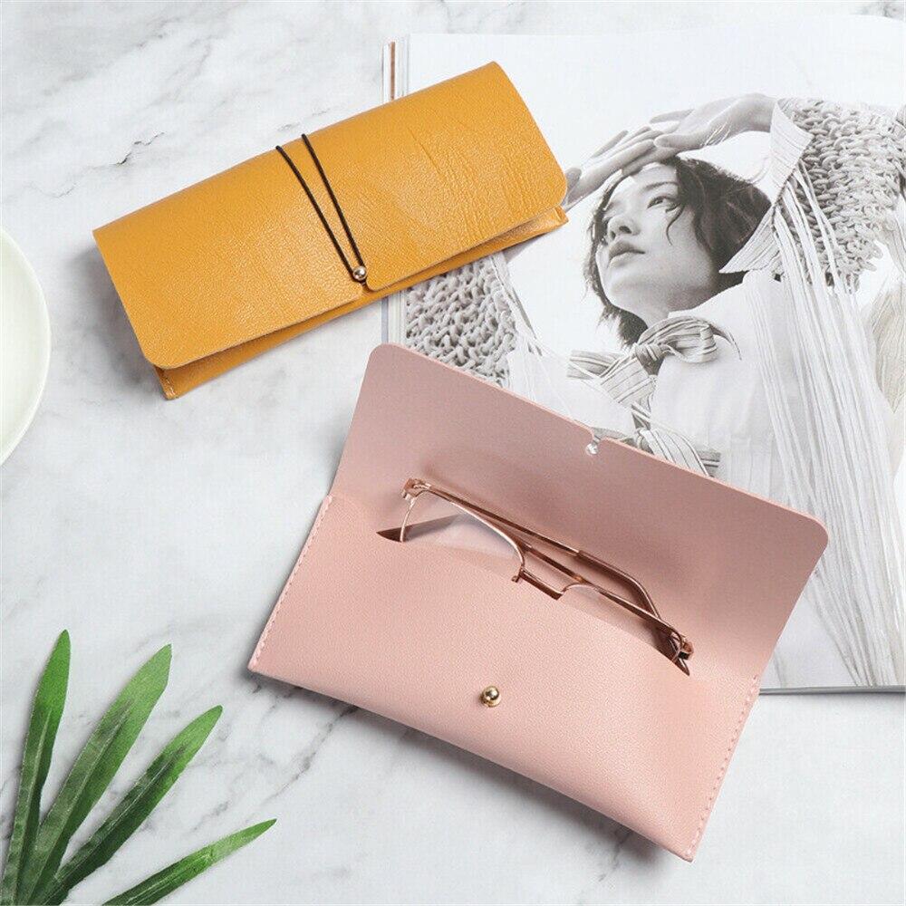 Kawaii Soft PU Leather Pen Bag Simple Fashion Sunglasses Holder Pencil Case Pen Holder Women Portable Wallet Storage Carry Bag