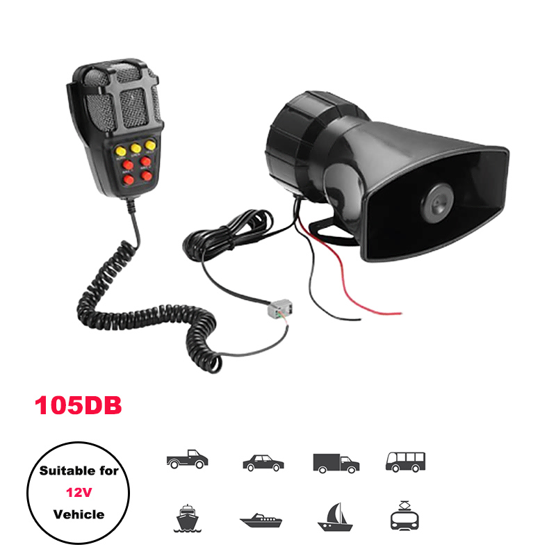 Loud Car Horn Emergency Siren Motorcycle Ural Cгу Horn Mic PA Speaker System Amplifier Hooter 12V Megaphone police siren(China)