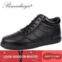 BIMUDUIYU Big Size mannen Casual Warme Schoenen Echt Leer Pluche/Single Lace-Up enkellaars Klassieke Zwart platte Winter Laarzen(China)