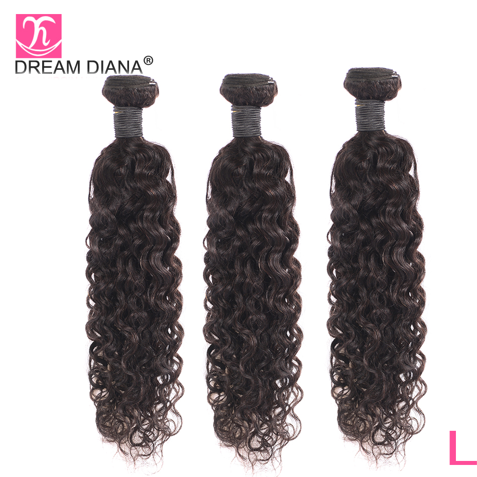 DreamDiana Brazilian Water Wave 1/3 Bundles L Remy Weave Hair Piece Natural Black Color 100% Human Hair Extensions Free ShippingHair Weaves   -