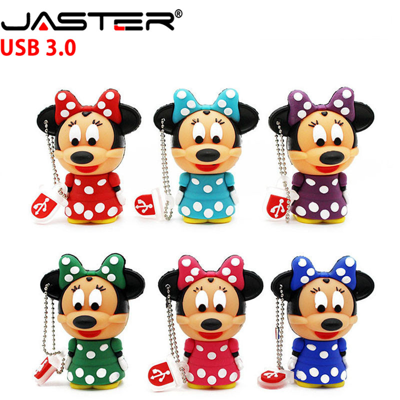JASTER USB 3.0 Minnie Flash Drive Drives Pendrive 64gb 32G 16GB 8GB 4GB Certoon Mouse Keychain Memory Stick Free Shipping