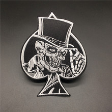 Skull Iron Patch For Clothing Poker Ace of Spades Embroidery