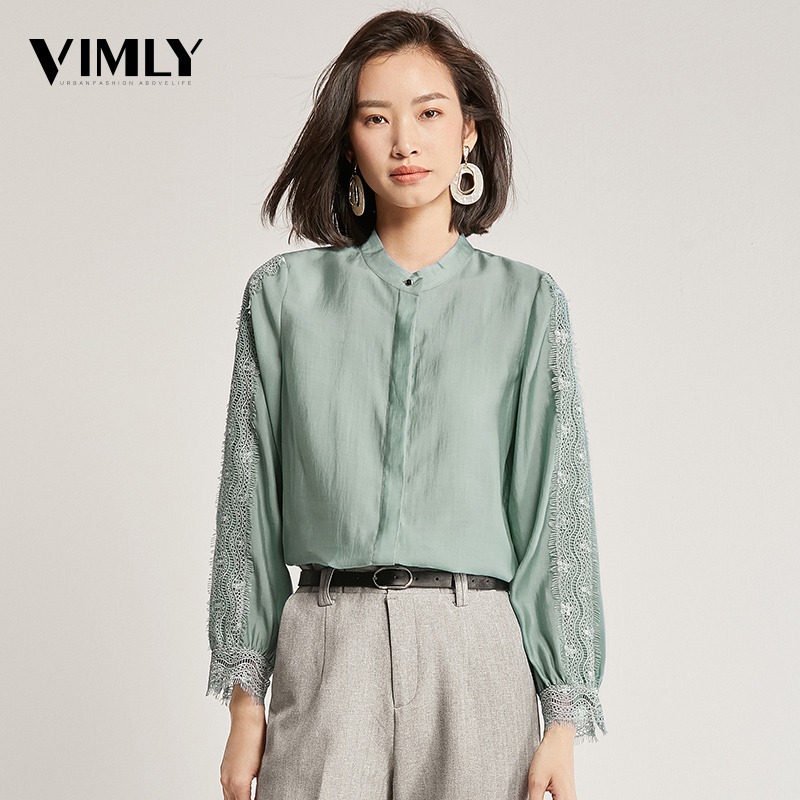 Vimly Spring Autumn Women Office Ladies   Shirt   Long Sleeve Lace Patchwork Green Female   Blouse     Shirts   Business Stylish Tops