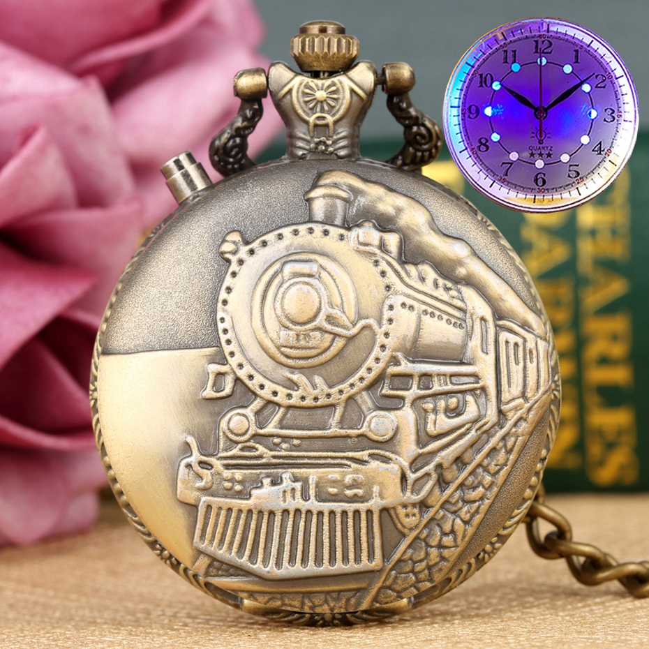 LED Flash Luminous Vintage Dial Quartz Pocket Watch Chain Bronze Carved Steam Train Steampunk Motor Railway Retro FOB Clock Hour