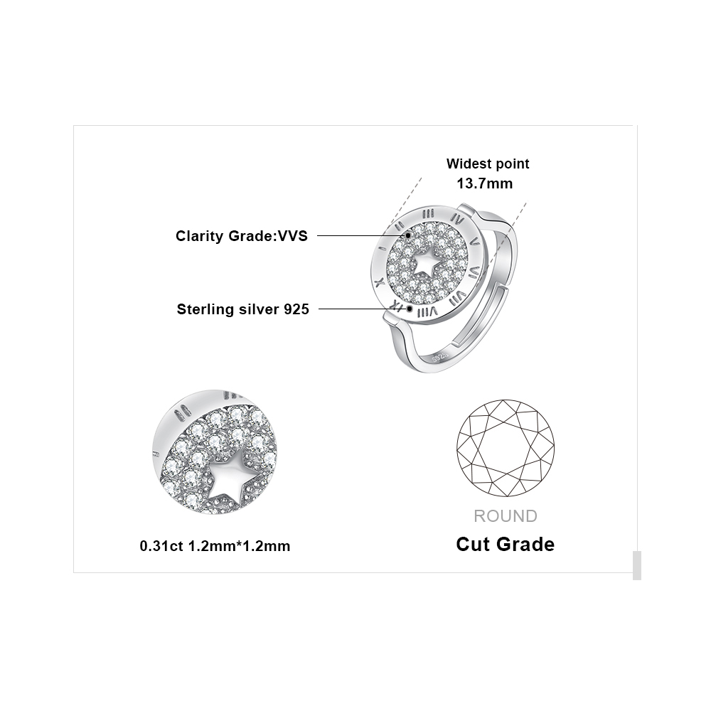 Image 5 - JewelryPalace Round Cubic Zirconia Star Circular Etched Roman  Numeral Adjustable Open Promise Ring 925 Sterling Silver RingsRings