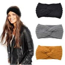 Novo nó de malha cruz bandana para mulheres outono inverno meninas acessórios para o cabelo headwear elástico faixa de cabelo acessórios para o cabelo