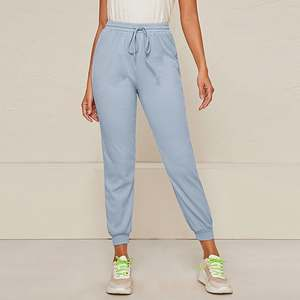 Female Trousers Pant Women Capris Loose Joggers Beige High-Waist Winter Chic Solid
