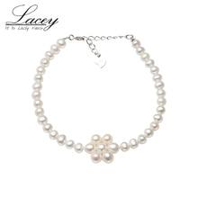 цена на Freshwater 100% Natural White Pearl Bracelet,925 Sterling Silver Jewelry Bracelet For Women Wedding Gifts