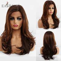 EASIHAIR-peluca larga de encaje Frontal para mujer, pelo Afro ondulado, resistente al calor, sin pegamento, color marrón