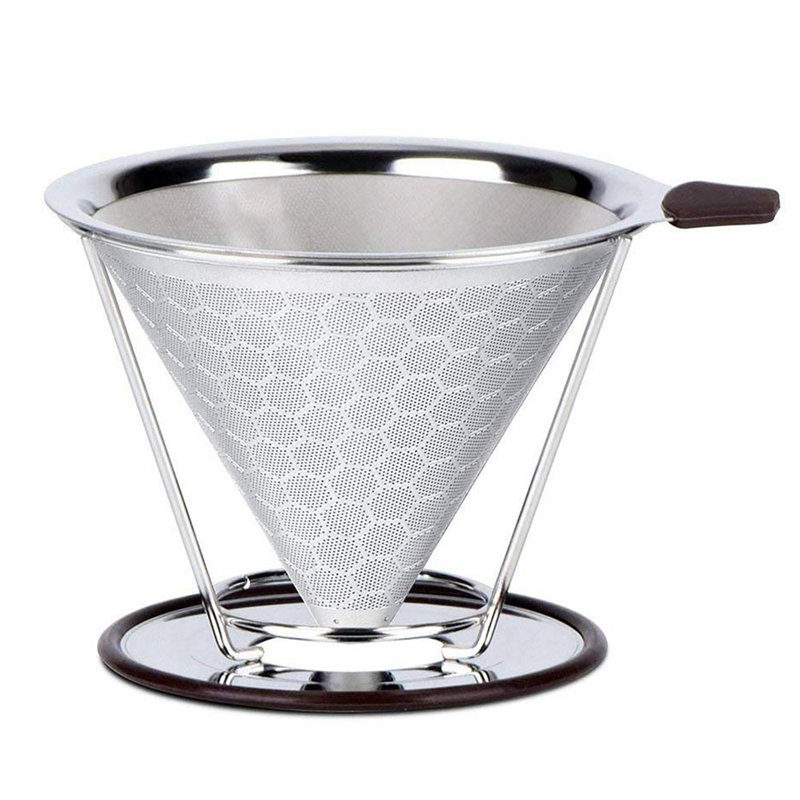ABUI Pour Over Coffee Filter Stainless Steel Permanent Coffee Dripper  Paperless Reusable Coffee Filter Cone with Removable Cup|Coffee Filters| |  - title=