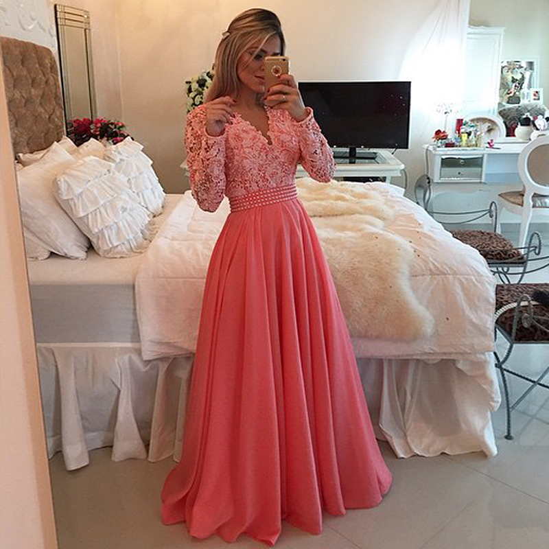 Actual Image Nice Pretty Chiffon Maxi Lace Long Sleeve Evening Prom Gown Robe De Soiree Customized Mother Of The Bride Dresses