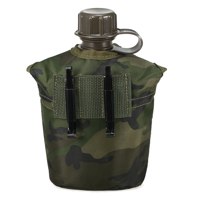 1L Outdoor Military Canteen Bottle Camping Hiking Backpacking Survival Water Bottle Kettle with Cover 1