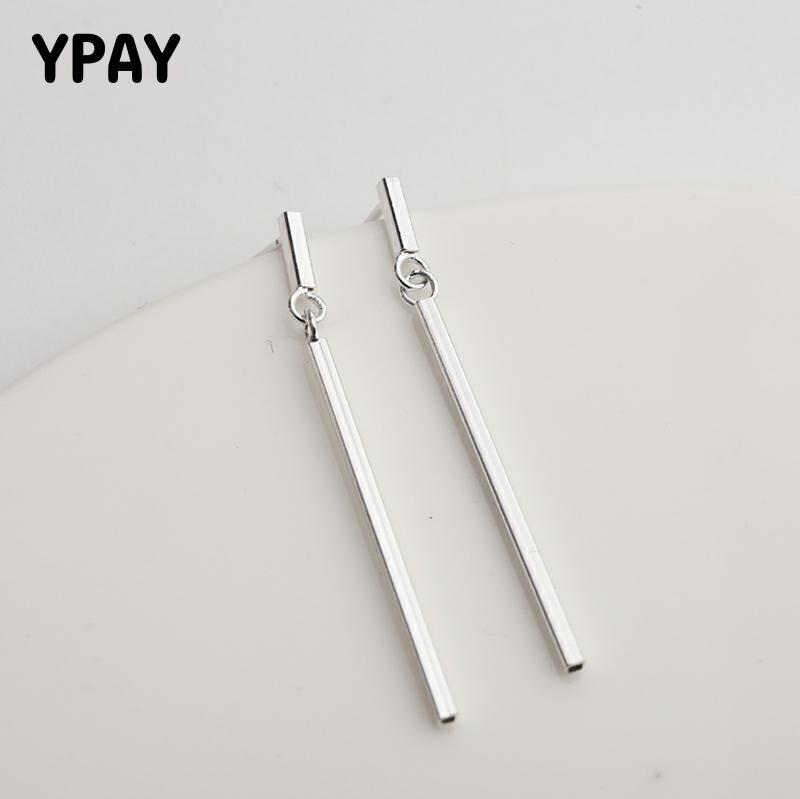 YPAY 100% Genuine 925 Sterling Silver Drop Earring Korea Tassel Stick Bar Earrings Xmas Gift For Teen Girls Fine Jewelry YME621