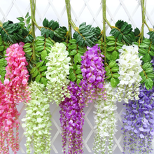 Artificial Vine Green Leaf Cane Wisteria Silk Fake Plastic Douban Flowers Garland Hanging Wedding Decor Living Room Decoration(China)