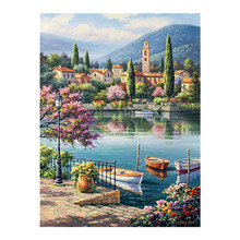 port city scenic Diamond Painting Cross Stitch Full Round New DIY 5D home decorative boat Island Mosaic Embroidery greek island city guide
