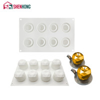SHENHONG 8 Holes Diamond Apple Shape Fruit Silicone Cake Mold For Baking Mousse Moulds Cake Decorating Moule -