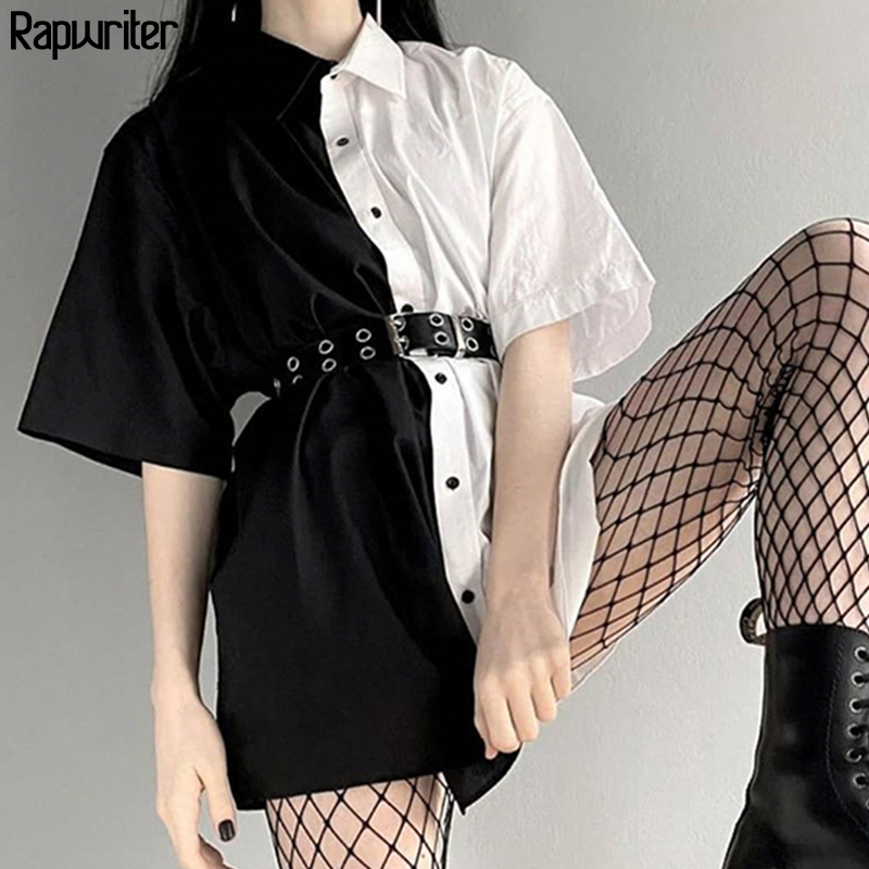 Rapwriter Gothic Panelled Turn Down Neck Women's Shirt Long Blouse Women  2020 Single Buttons Short Sleeve Loose Tops Blusas