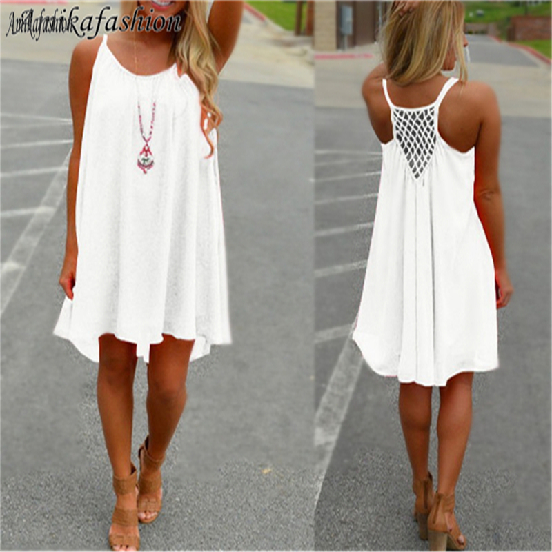 Amikafashion <font><b>Summer</b></font> <font><b>Sexy</b></font> <font><b>Dress</b></font> <font><b>Wome</b></font> NBeach Style Hollow Out Decoration Halter Casual Knee-Length Sleeveless <font><b>Dress</b></font> Vestidos <font><b>2019</b></font> image