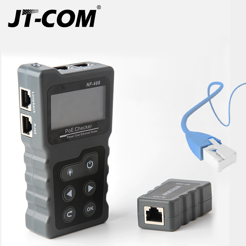 Brand New  Ethernet CAT5 CAT6 LAN Network Cable PoE Switch Tester Detector NF-488 LCD Display Network Cable Tester Network Tools 3