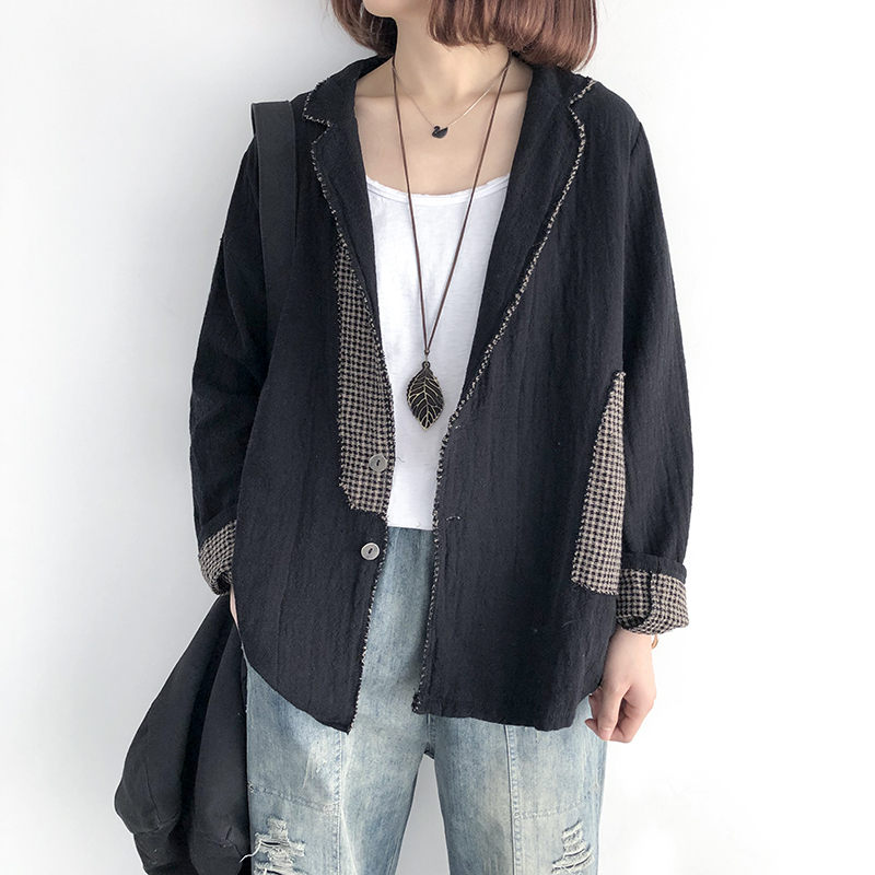 Cotton And Linen Blazer Women's Loose Large Size Color Matching Cardigan Casual Retro Female Splice Linen Suit Spring Tops F2943