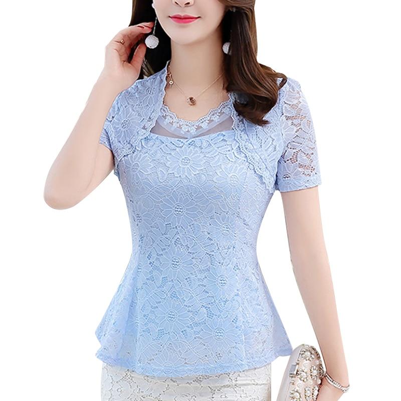 Blusas с коротким рукавом M-4XL размера плюс 8 цветов Новинка 2020 летняя кружевная рубашка женские топы тонкая элегантная кружевная женская блузк...