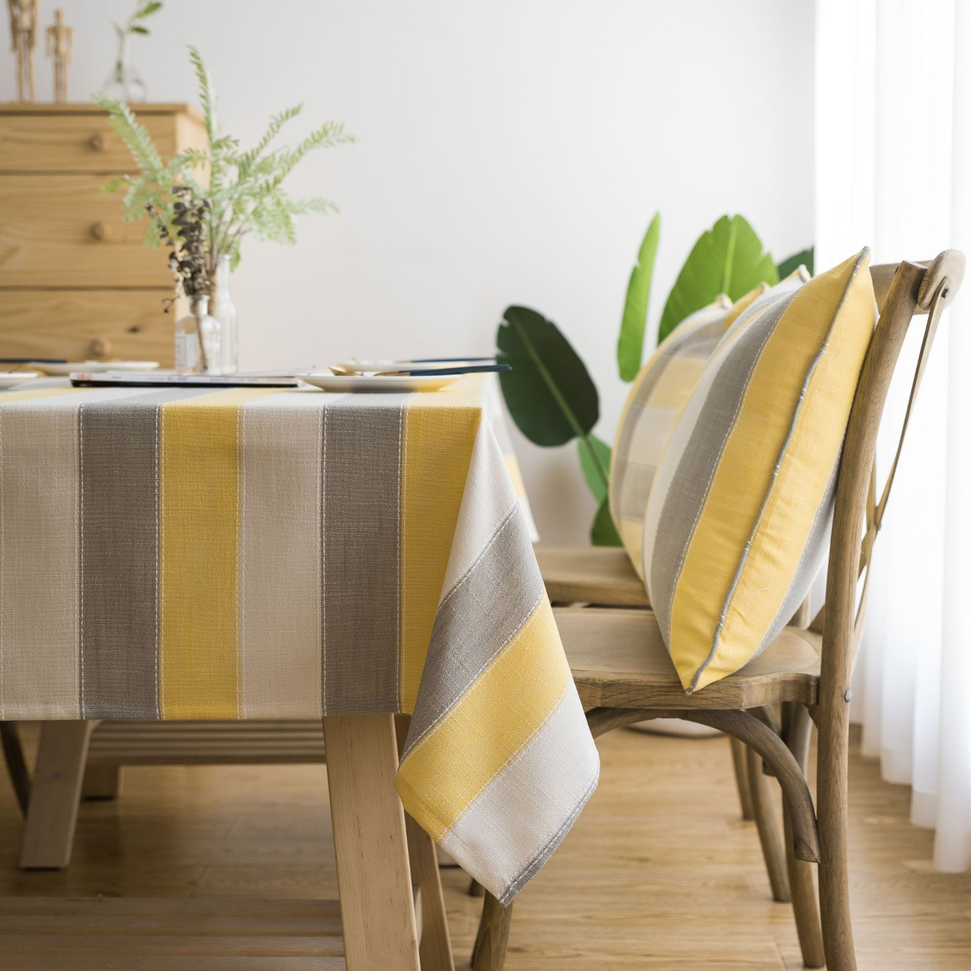 Picture of: Big Sale B301 American Style Stripe Tablecloth Waterproof Decorative Table Cloth Yellow Grey Stripe Rectangular Dining Table Cover Tablecloths Cicig Co