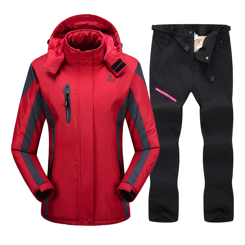 Ski Suit For Women Winter Waterproof Breathable Warm Snowboard Jacket And Pants Wind Resistant Outdoor Female Snowboard Suit